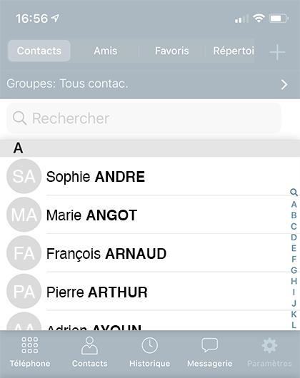 Liste des contacts personnels accessibles depuis l'application ubefone