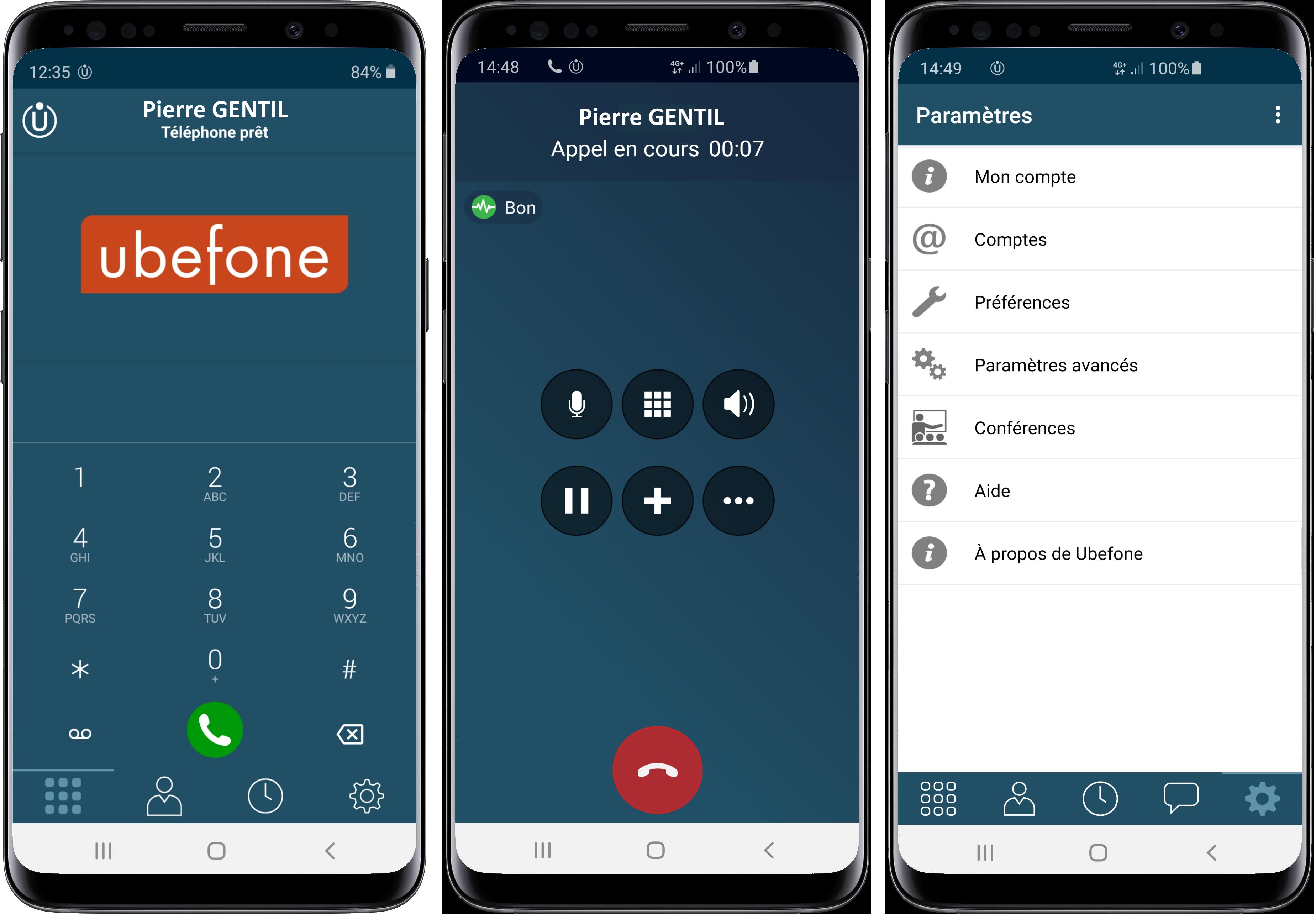 Exemple de l'application de téléphonie cloud sur un Iphone