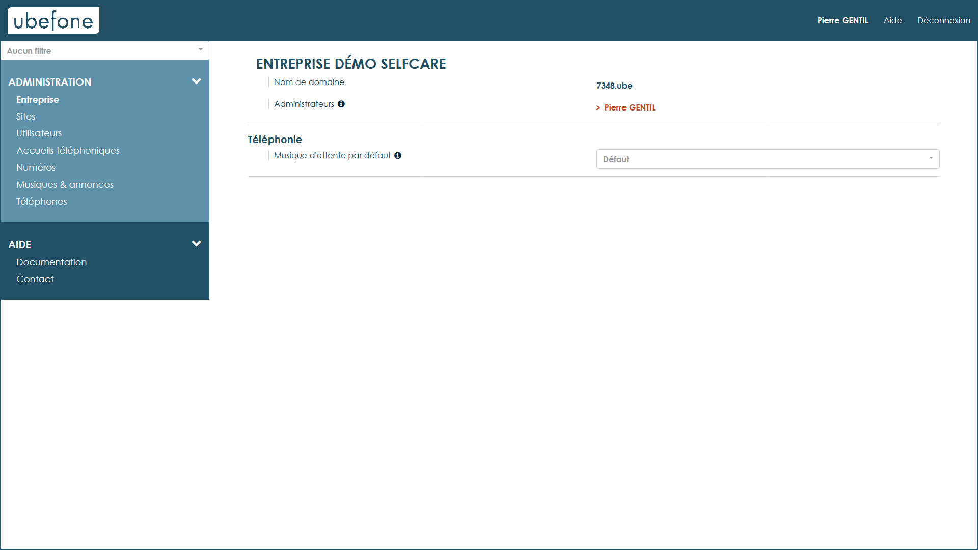 Interface d'administration de la téléphonie d'entreprise